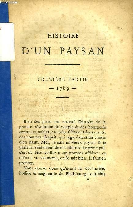 HISTOIRE D'UN PAYSAN, TOME I