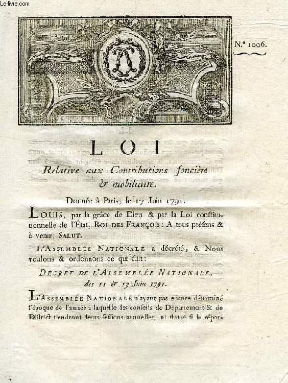 LOI, N° 1006, RELATIVE AUX CONTRIBUTIONS FONCIERE & MOBILIAIRE