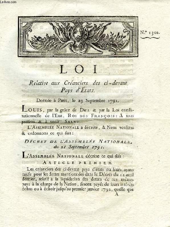 LOI, N° 1302, RELATIVE AUX CREANCIERS DES CI-DEVANT PAYS D'ETAT