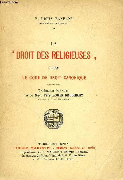 LE 'DROIT DES RELIGIEUSES' SELON LE CODE DE DROIT CANONIQUE