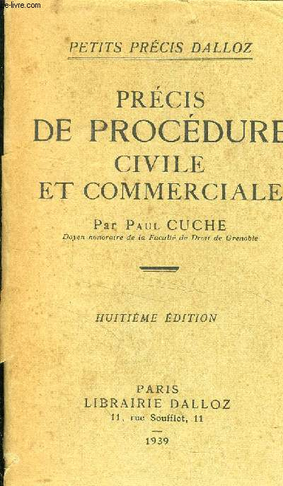 PRECIS DE PROCEDURE CIVILE ET COMMERCIALE