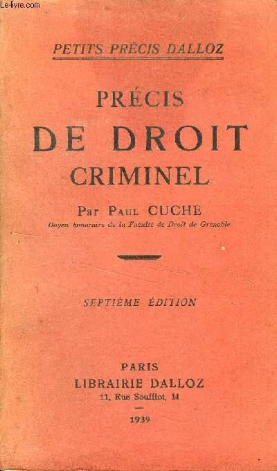 PRECIS DE DROIT CRIMINEL