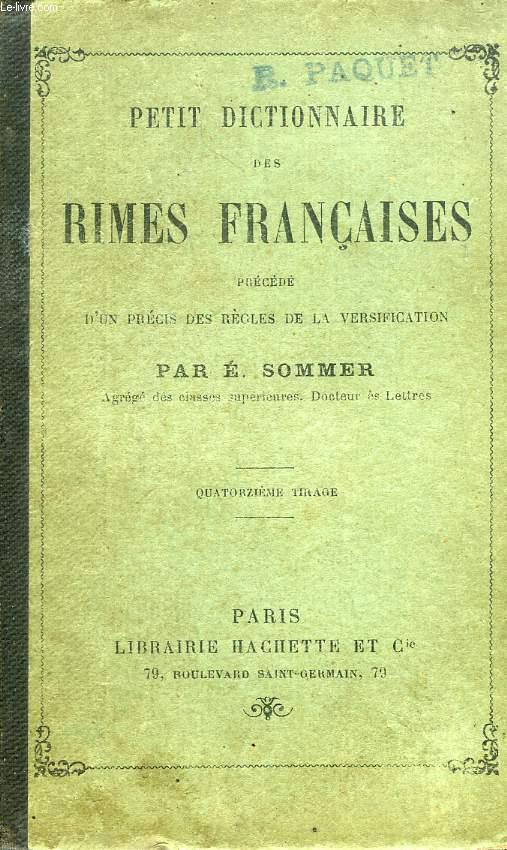 PETIT DICTIONNAIRE DES RIMES FRANCAISES