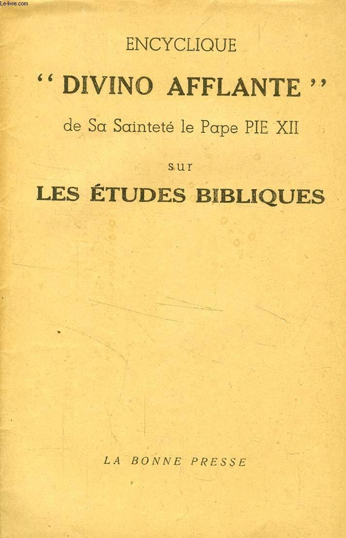 ENCYCLIQUE 'DIVINO AFFLANTE' SUR LES ETUDES BIBLIQUES