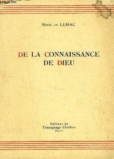 DE LA CONNAISSANCE DE DIEU
