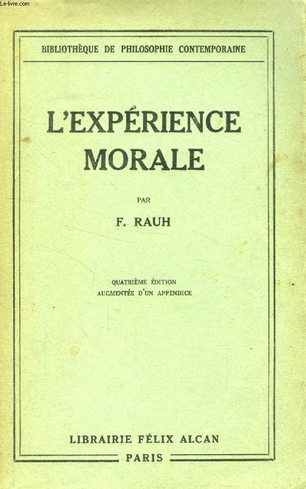 L'EXPERIENCE MORALE