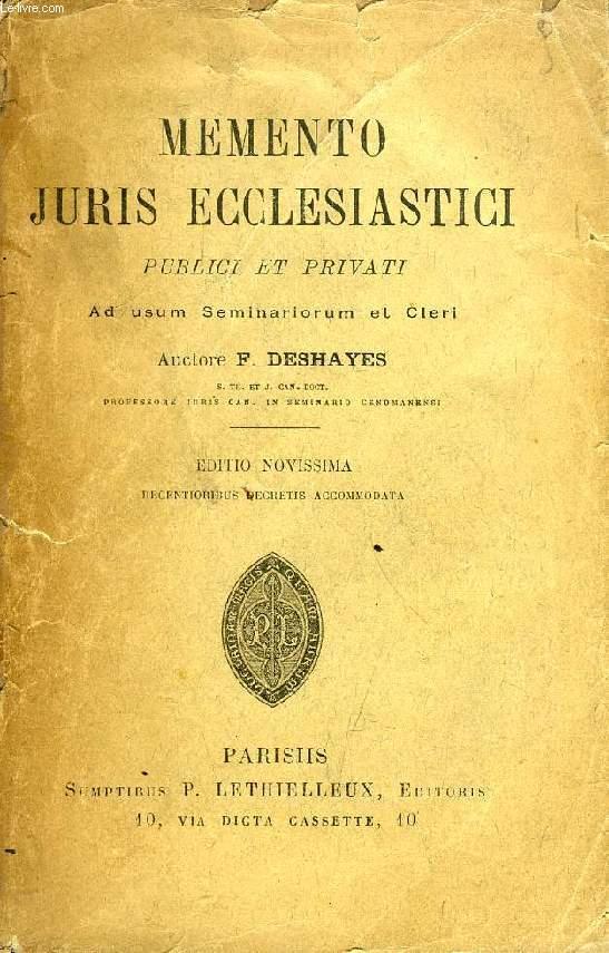 MEMENTO JURIS ECCLESIASTICI PUBLICI ET PRIVATI