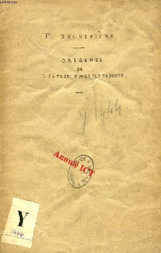 HUIT LECONS SUR LES ORIGINES DE L'ESPRIT ENCYCLOPEDIQUE (TIRE A PART)