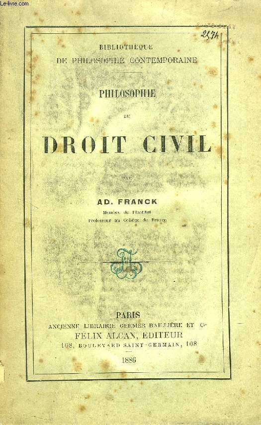 PHILOSOPHIE DU DROIT CIVIL