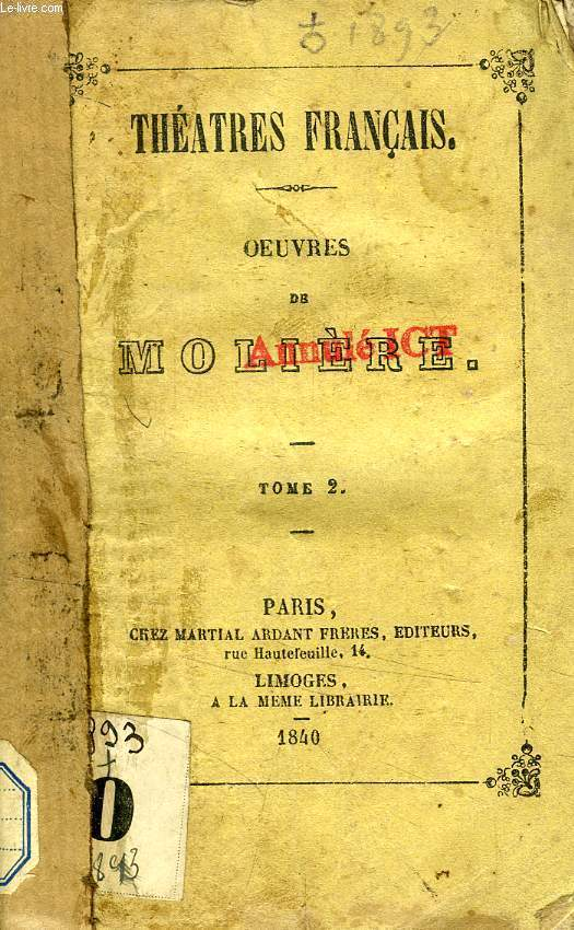 OEUVRES DE MOLIERE, TOME 2