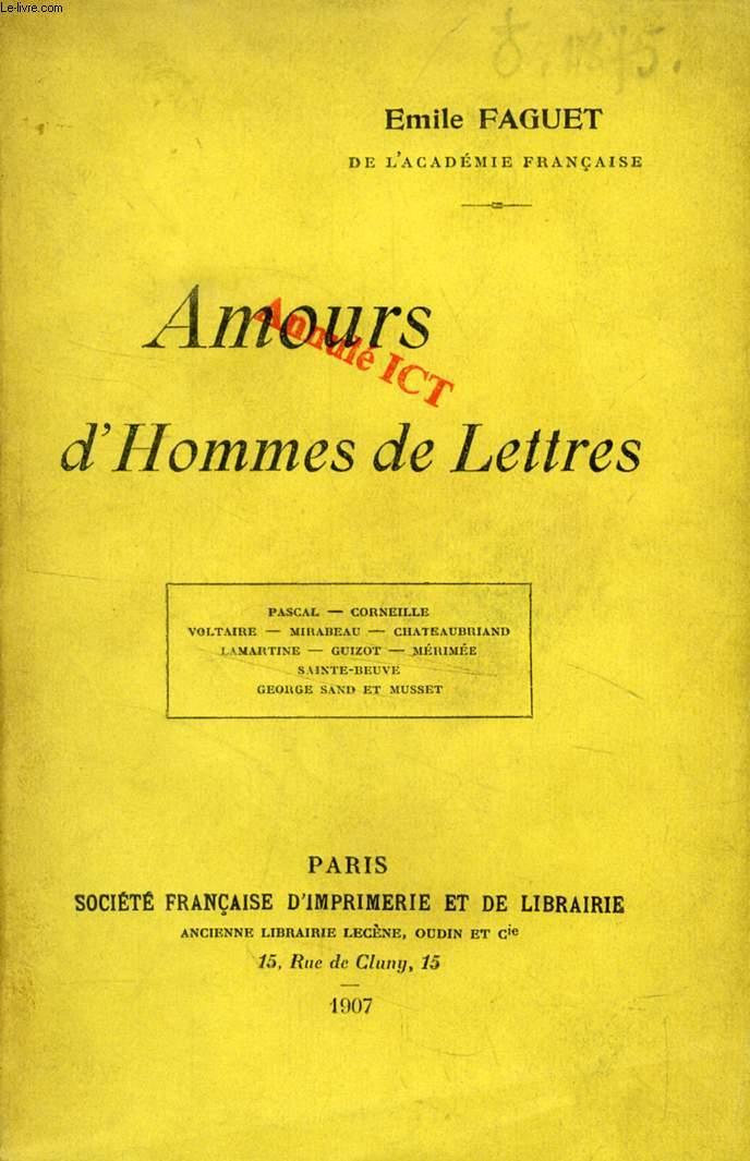 AMOURS D'HOMMES DE LETTRES