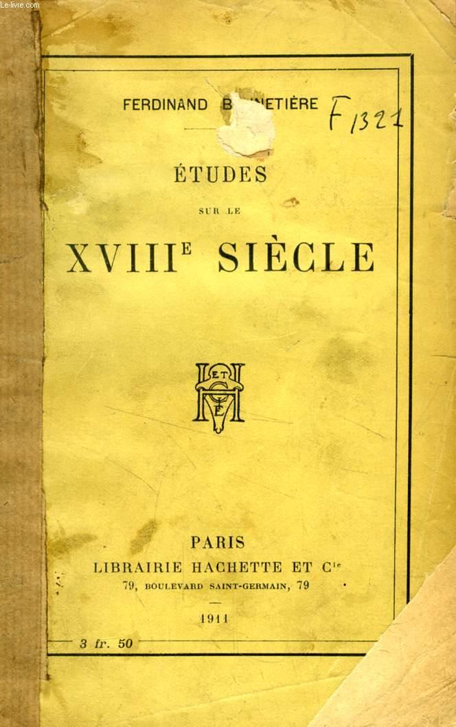 ETUDES SUR LE XVIIIe SIECLE