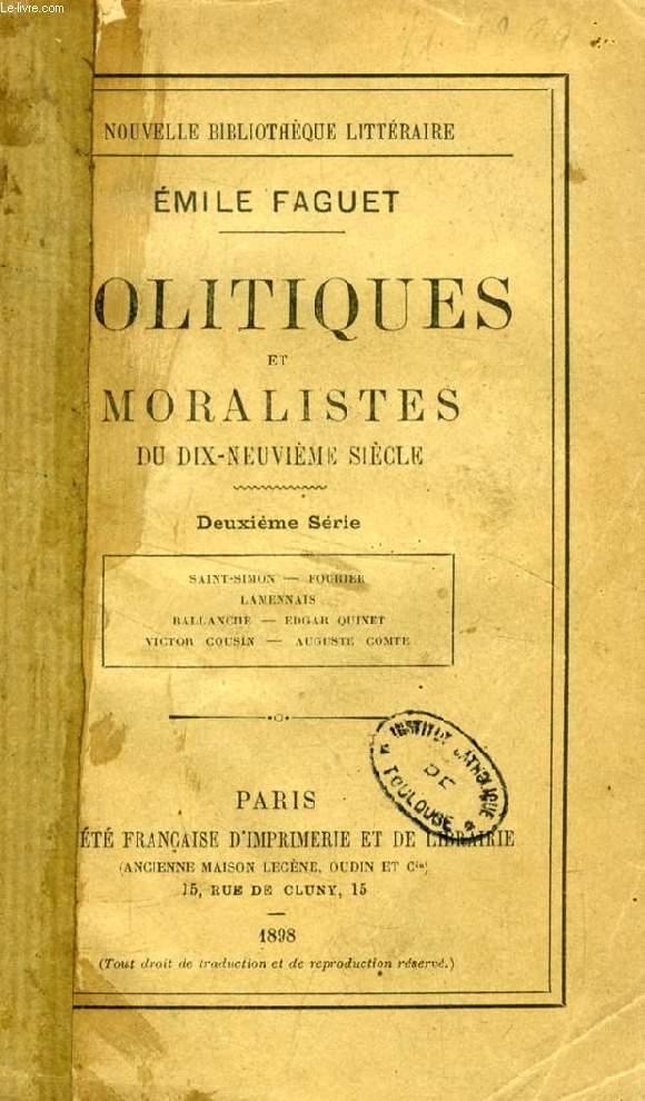 POLITIQUES ET MORALISTES DU DIX-NEUVIEME SIECLE, 2e SERIE