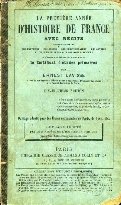 LA PREMIERE ANNEE D'HISTOIRE DE FRANCE AVEC RECITS
