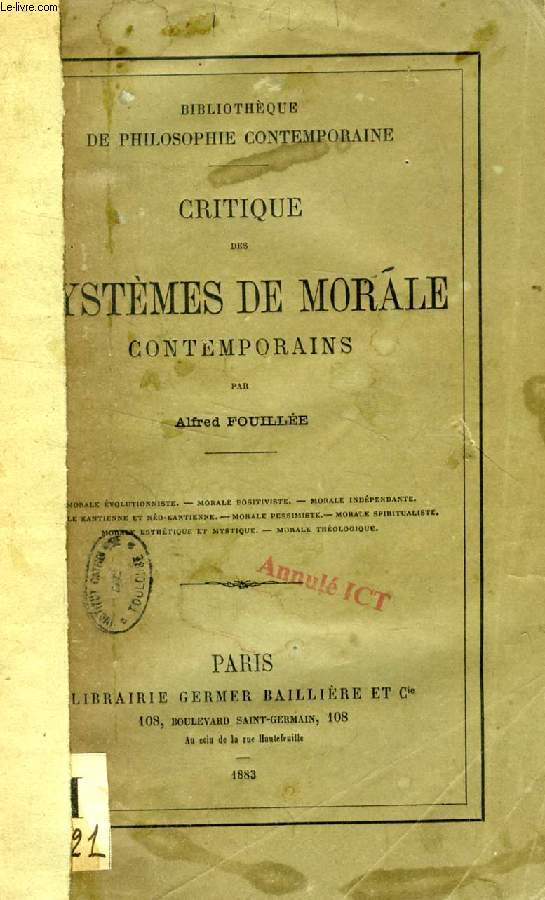 CRITIQUE DES SYSTEMES DE MORALE CONTEMPORAINS