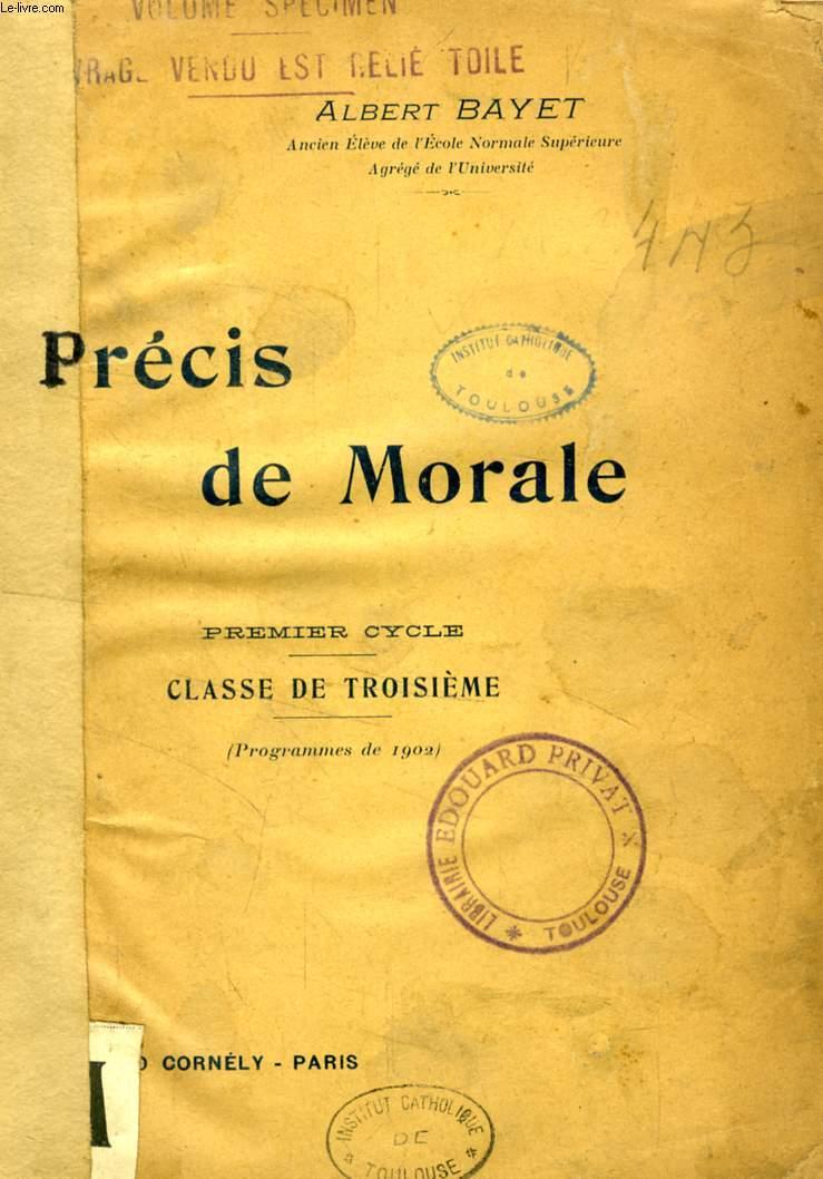 PRECIS DE MORALE, 1er CYCLE, CLASSE DE 3e