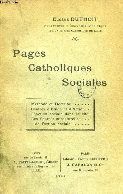 PAGES CATHOLIQUES SOCIALES