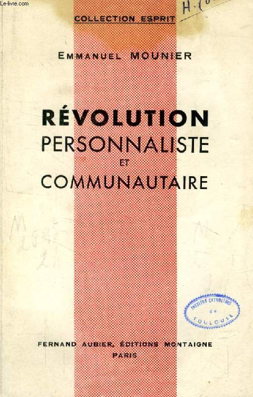 REVOLUTION PERSONNALISTE ET COMMUNAUTAIRE