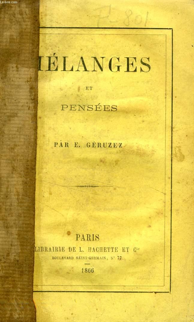 MELANGES ET PENSEES - GERUZEZ E. - 1866