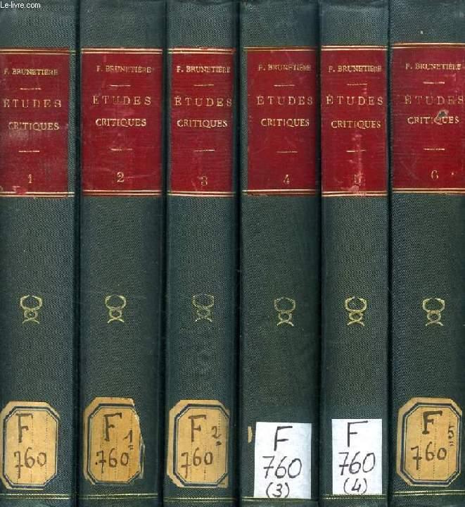 ETUDES CRITIQUES SUR L'HISTOIRE DE LA LITTERATURE FRANCAISE, 6 TOMES (SERIES)