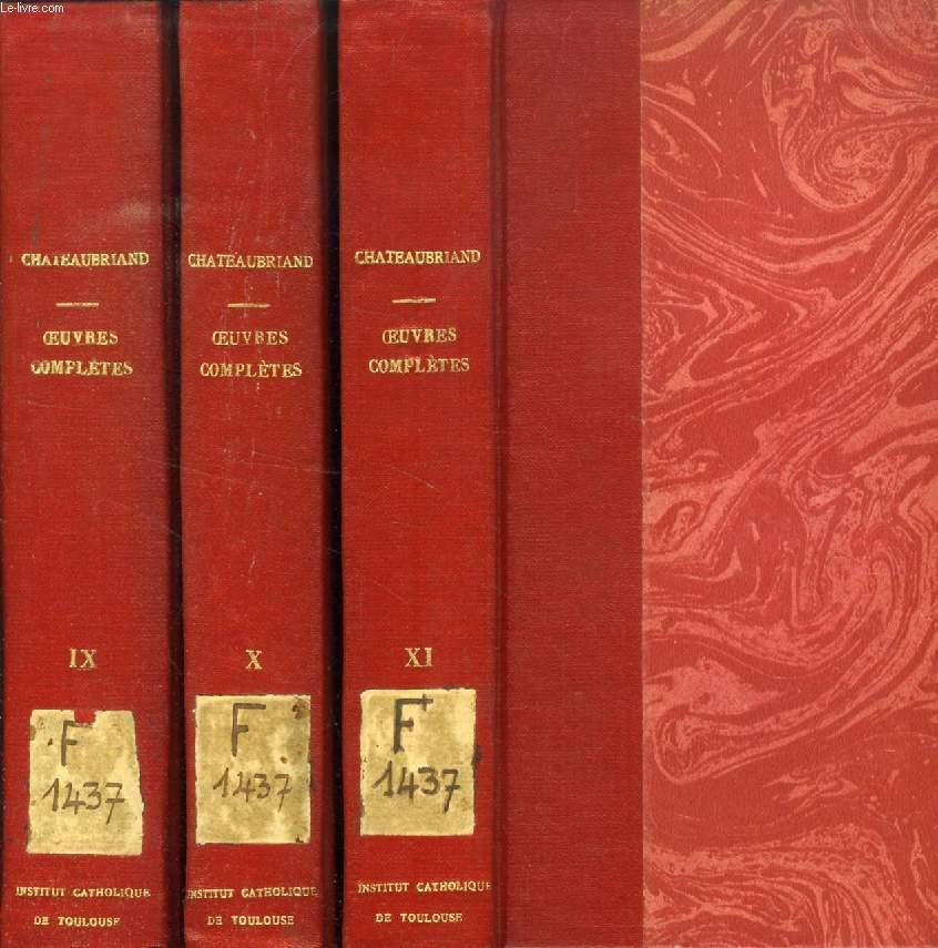 GENIE DU CHRISTIANISME, 3 TOMES (OEUVRES COMPLETES DE M. LE VICOMTE DE CHATEAUBRIAND, TOMES IX, X, XI)