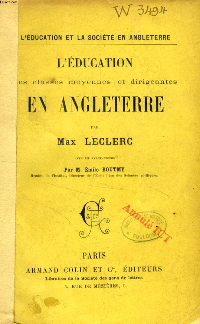 L'EDUCATION DES CLASSES MOYENNES ET DIRIGEANTES EN ANGLETERRE