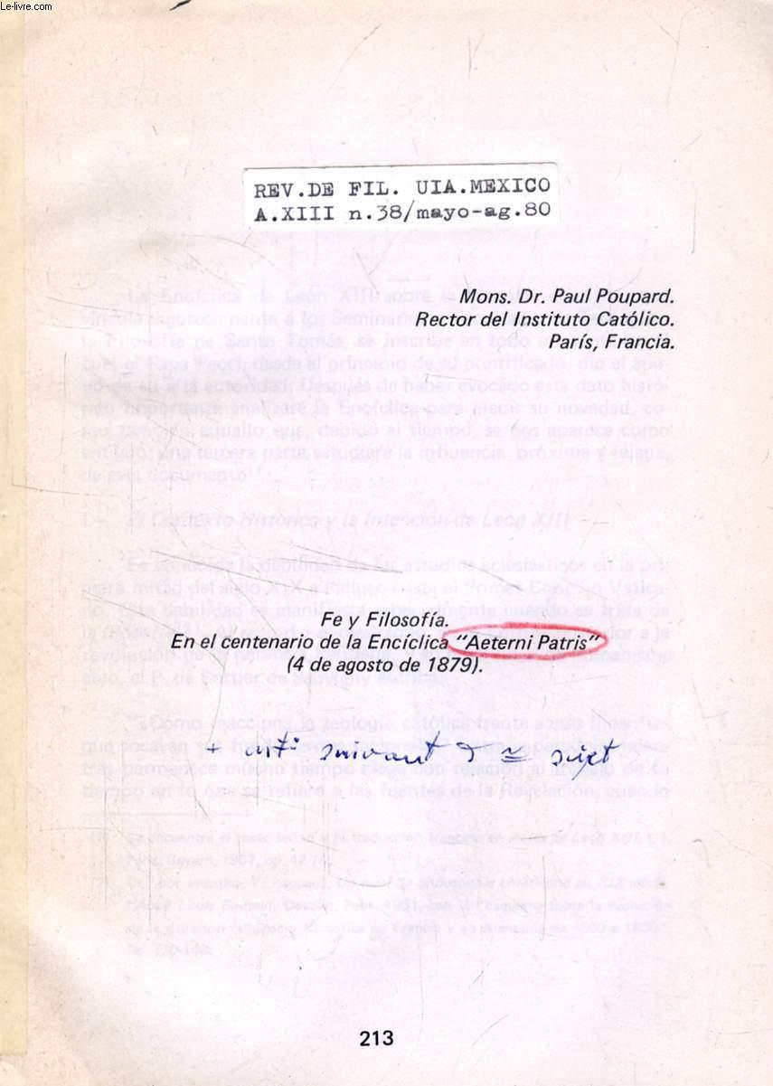 FE Y FILOSOFIA, EN EL CENTENARIO DE LA ENCICLICA 'AETERNI PATRIS' (4 DE AGOSTO DE 1879) (TIRE A PART)