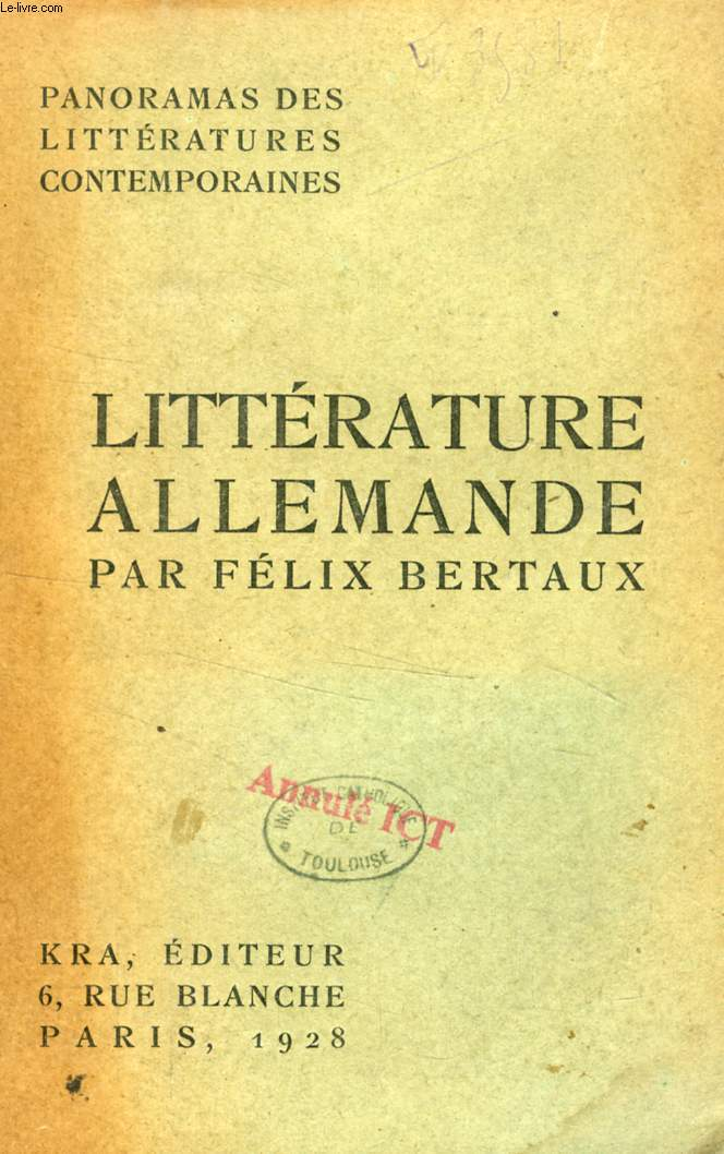 PANORAMA DE LA LITTERATURE ALLEMANDE CONTEMPORAINE