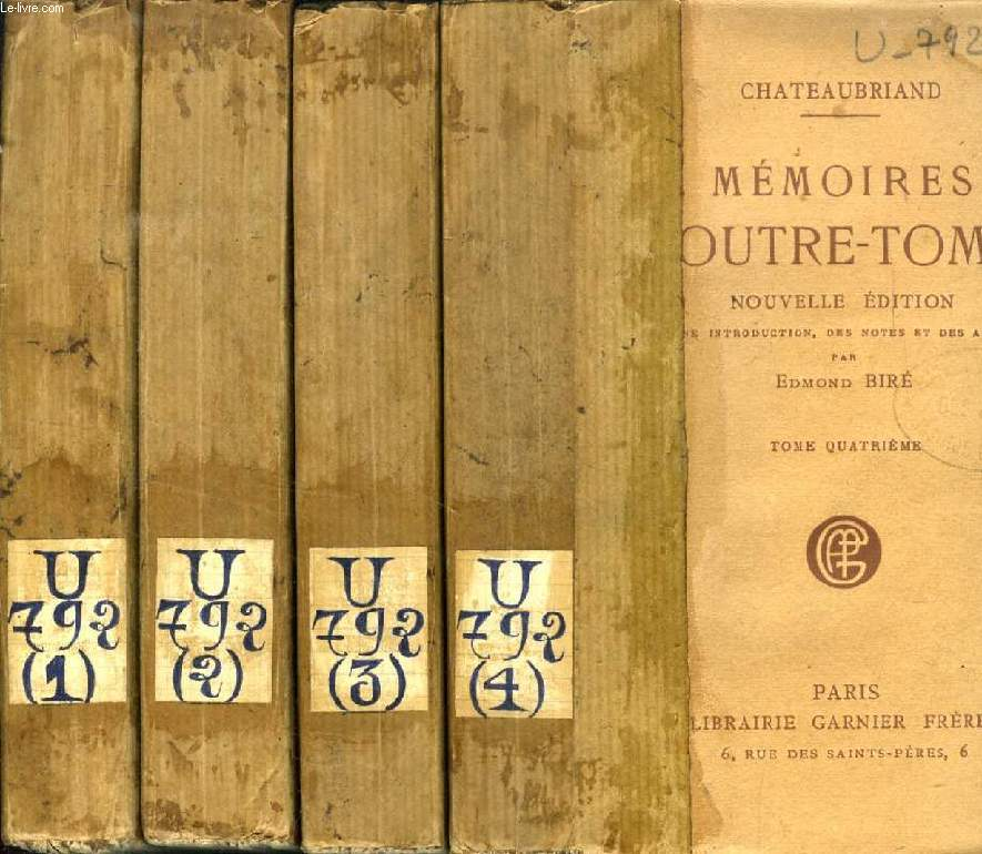MEMOIRES D'OUTRE-TOMBE, 5 TOMES