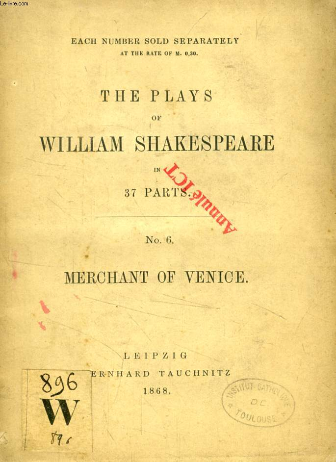 MERCHANT OF VENICE (THE PLAYS OF WILLIAM SHAKESPEARE IN 37 PARTS, N° 6)