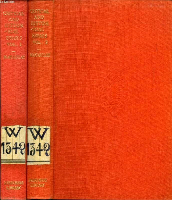 CRITICAL AND HISTORICAL ESSAYS, 2 VOLUMES