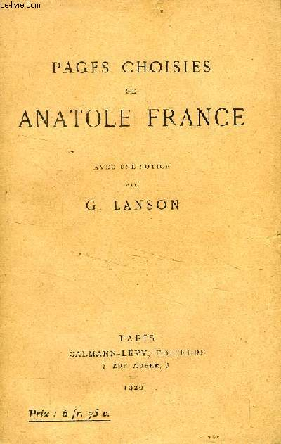 PAGES CHOISIES DE ANATOLE FRANCE