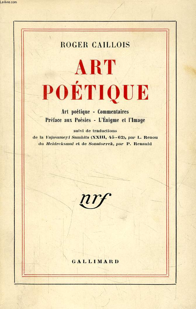 ART POETIQUE, Art poétique, Commentaires, Préface au Poésies, L'énigme et l'image
