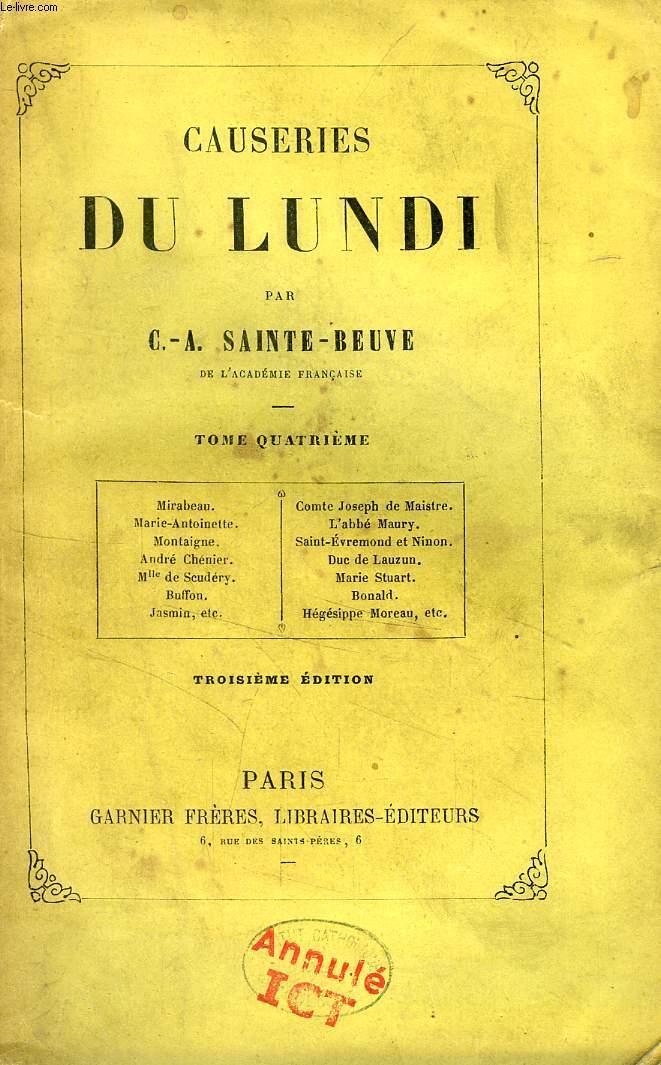 CAUSERIES DU LUNDI, TOME IV