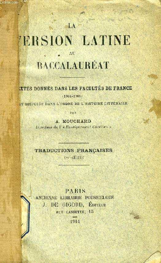 LA VERSION LATINE AU BACCALAUREAT, 1re SERIE, TRADUCTIONS FRANCAISES