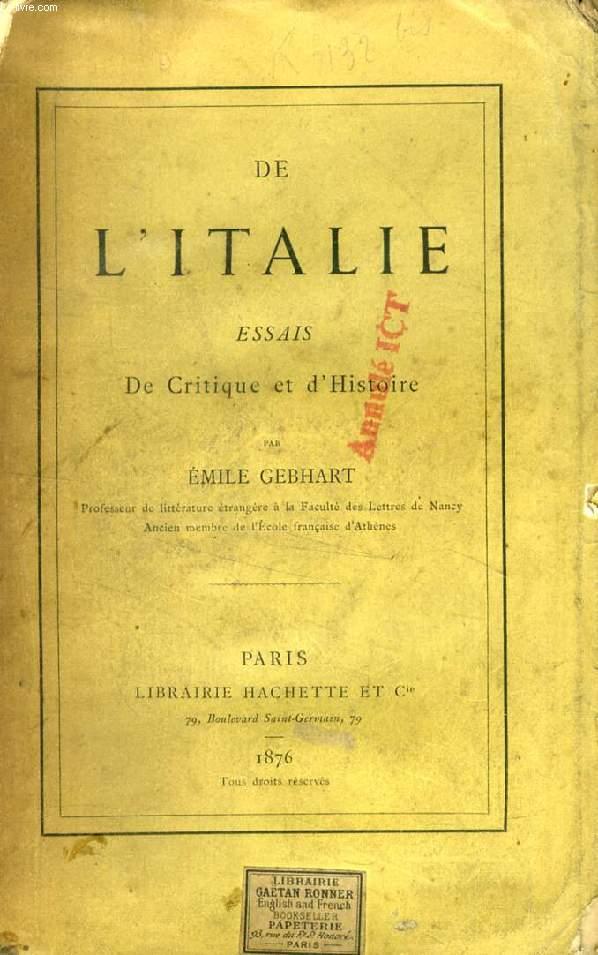 DE L'ITALIE, ESSAIS DE CRITIQUE ET D'HISTOIRE