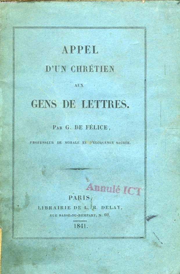 APPEL D'UN CHRETIEN AUX GENS DE LETTRES