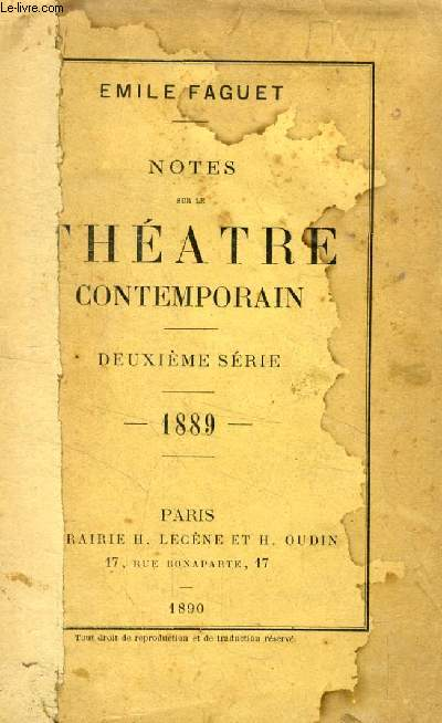 NOTES SUR LE THEATRE CONTEMPORAIN, 2e SERIE, 1889