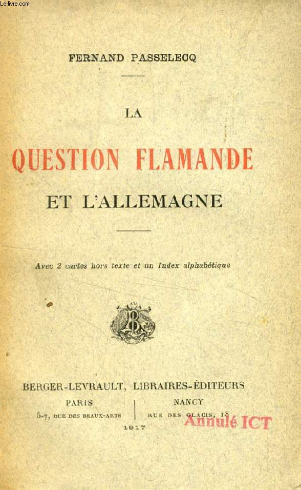 LA QUESTION FLAMANDE ET L'ALLEMAGNE