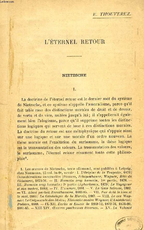 L'ETERNEL RETOUR, NIETZSCHE (2 TIRES A PART)
