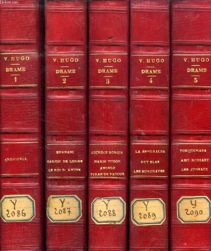 OEUVRES COMPLETES DE VICTOR HUGO, DRAME, 5 TOMES