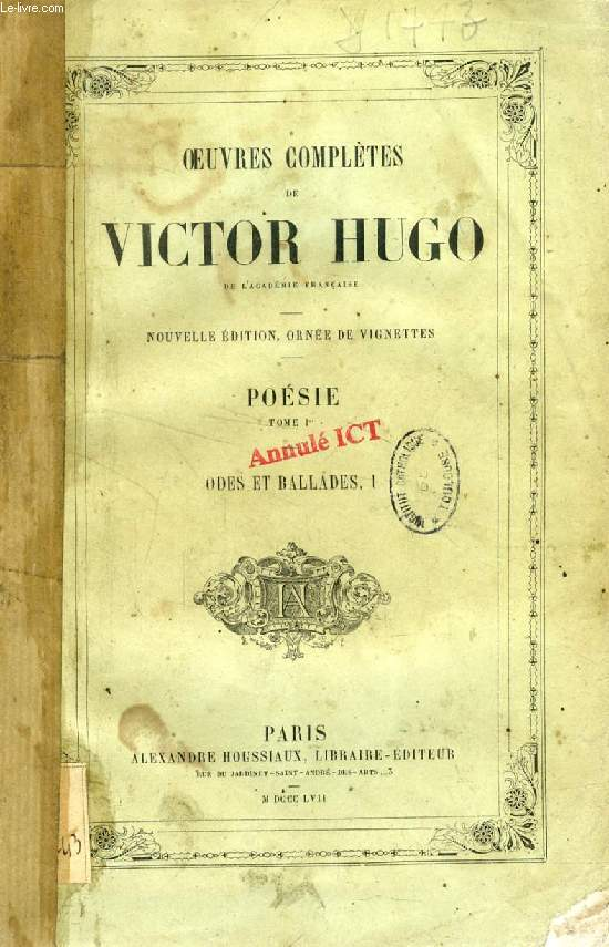 OEUVRES COMPLETES DE VICTOR HUGO, POESIE, 6 TOMES (INCOMPLET)