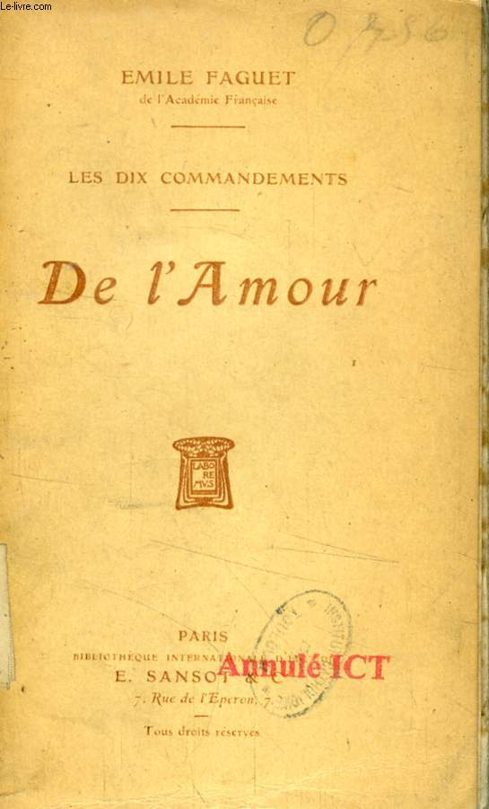 DE L'AMOUR (LES DIX COMMANDEMENTS)