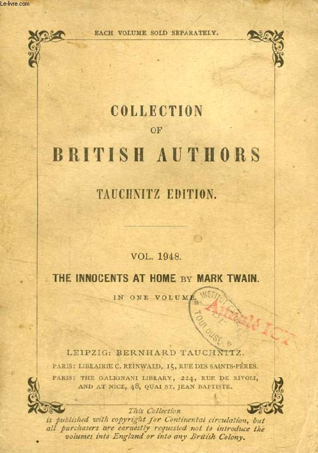 THE INNOCENTS AT HOME (TAUCHNITZ EDITION, COLLECTION OF BRITISH AND AMERICAN AUTHORS, VOL. 1948)
