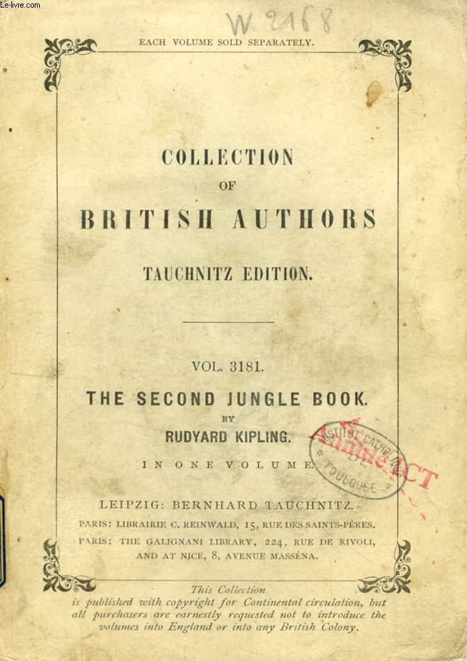 THE SECOND JUNGLE BOOK (TAUCHNITZ EDITION, COLLECTION OF BRITISH AND AMERICAN AUTHORS, VOL. 3181)