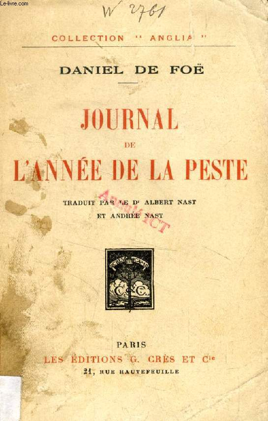 JOURNAL DE L'ANNEE DE LA PESTE