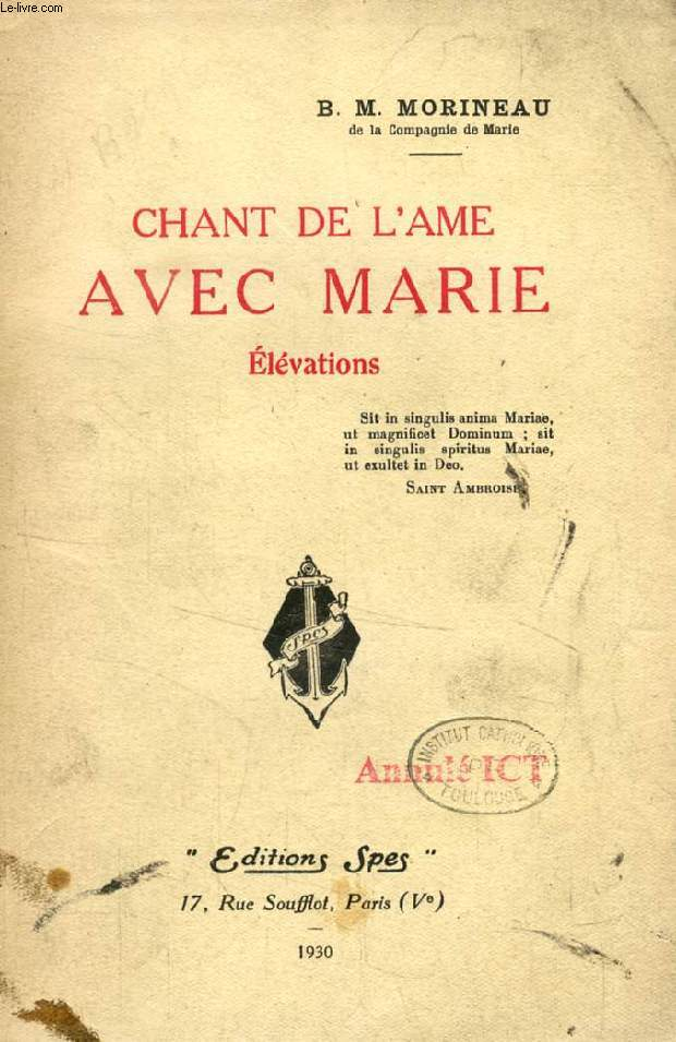 CHANT DE L'AME AVEC MARIE, ELEVATIONS