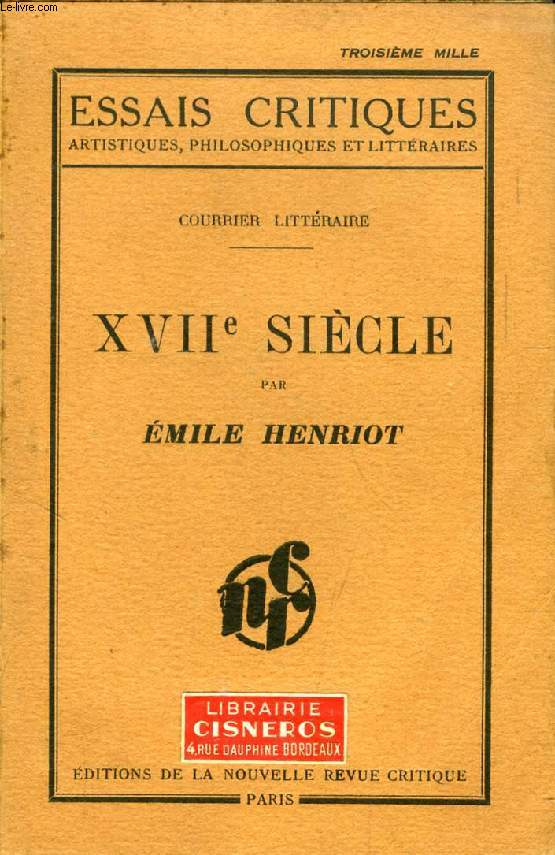 XVIIe SIECLE (COURRIER LITTERAIRE)