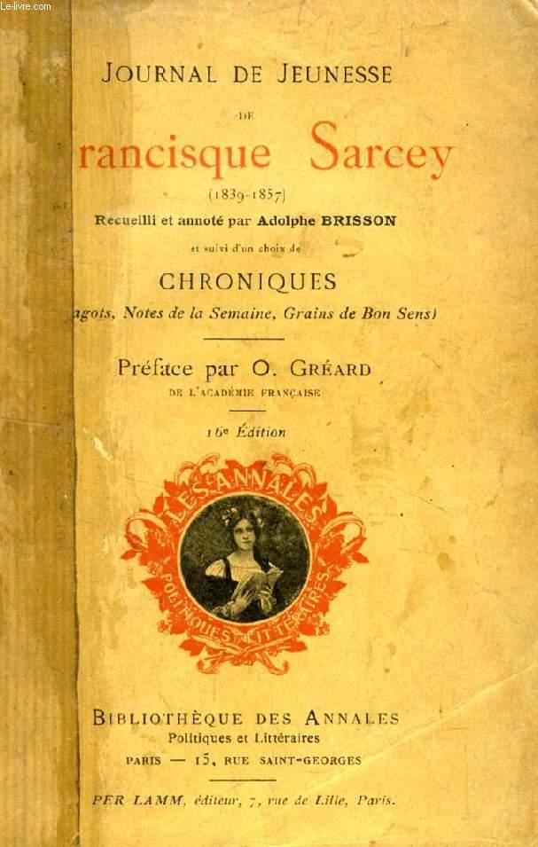 JOURNAL DE JEUNESSE DE FRANCISQUE SARCEY (1839-1857)