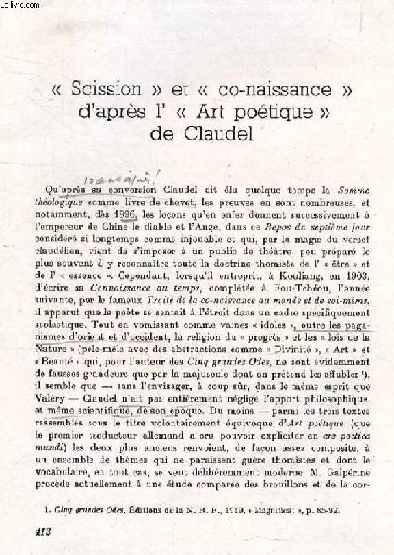 'SCISSION' ET 'CO-NAISSANCE' D'APRES L' 'ART POETIQUE' DE CLAUDEL (TIRE A PART / PHOTOCOPIES)